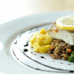 Sea Bass with Green Lentils, Fresh Corn and Parsley