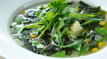 Wakame Soup with Snow Peas and Ginger