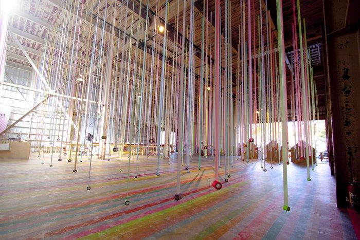 an installation of colorful masking tape mt ex sendai spoon tamago