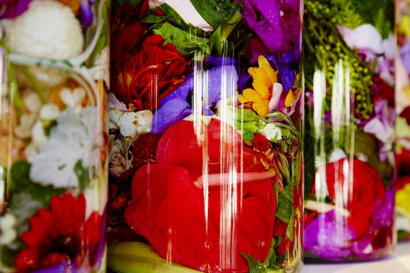 A Colorful Birthday Cake of Bottled Flowers by Makoto Azuma Spoon