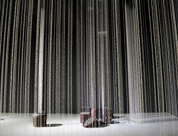 In Installation of 4200 Strings of Rice Grains by Sayaka Ishizuka