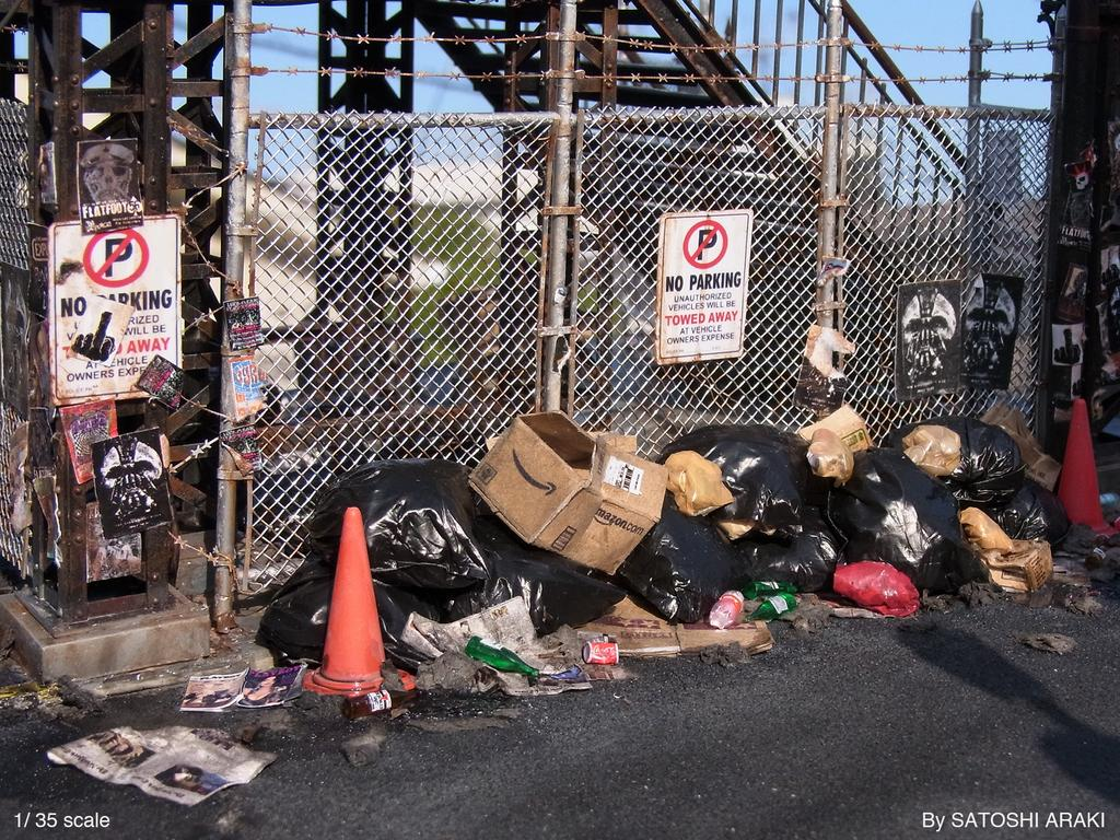 miniature diorama of a garbage dump