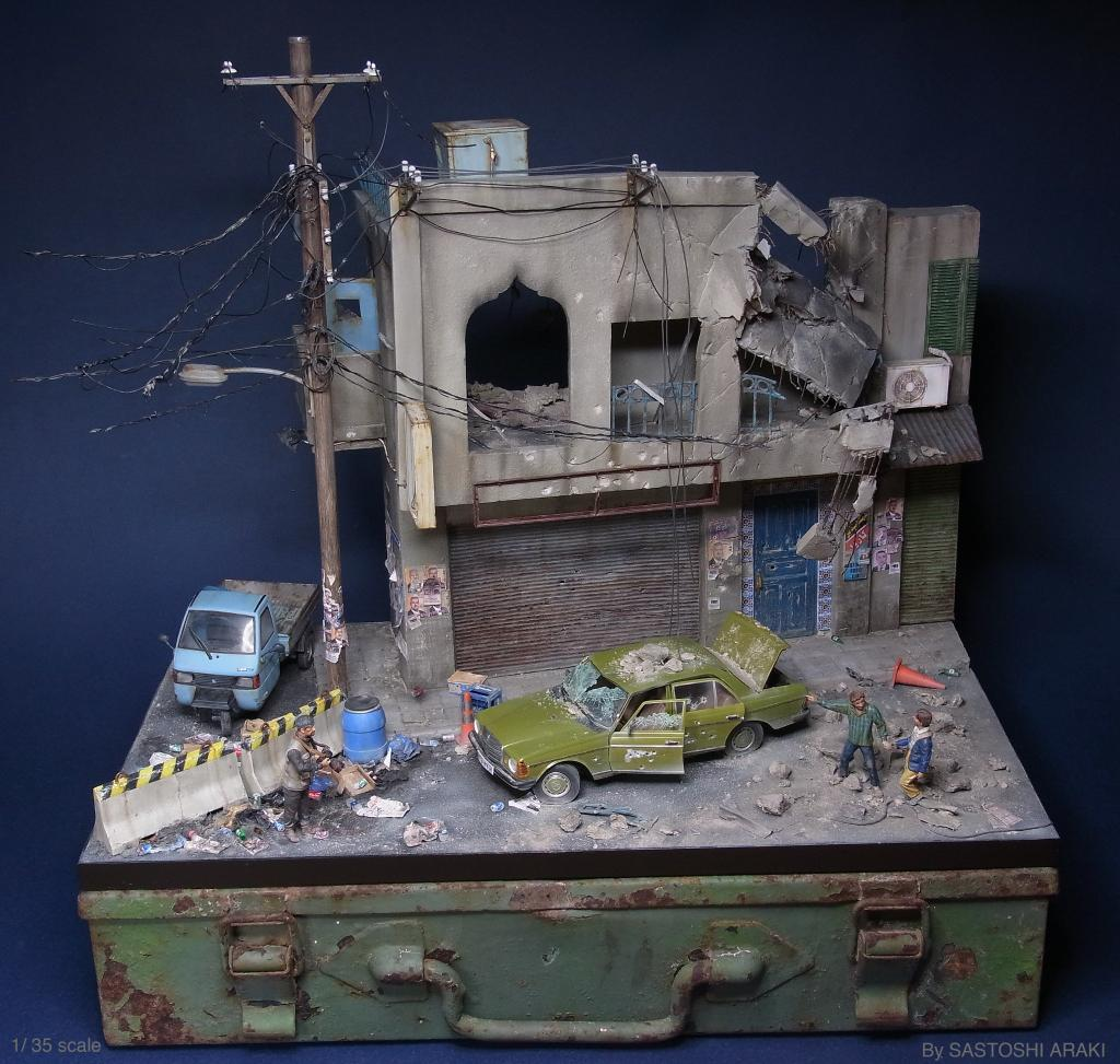 Pictures Of Toy Models Of Cities : Miniature dioramas of bombed out and littered cites by