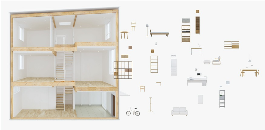 muji 39 s new prefabricated vertical house for city living spoon tamago. Black Bedroom Furniture Sets. Home Design Ideas