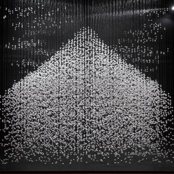 A Three Dimensional Sculpture of Mt. Fuji Made From Hundreds of Suspended Balls