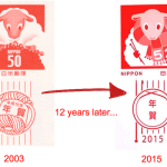 2003 and 2015 new years stamp