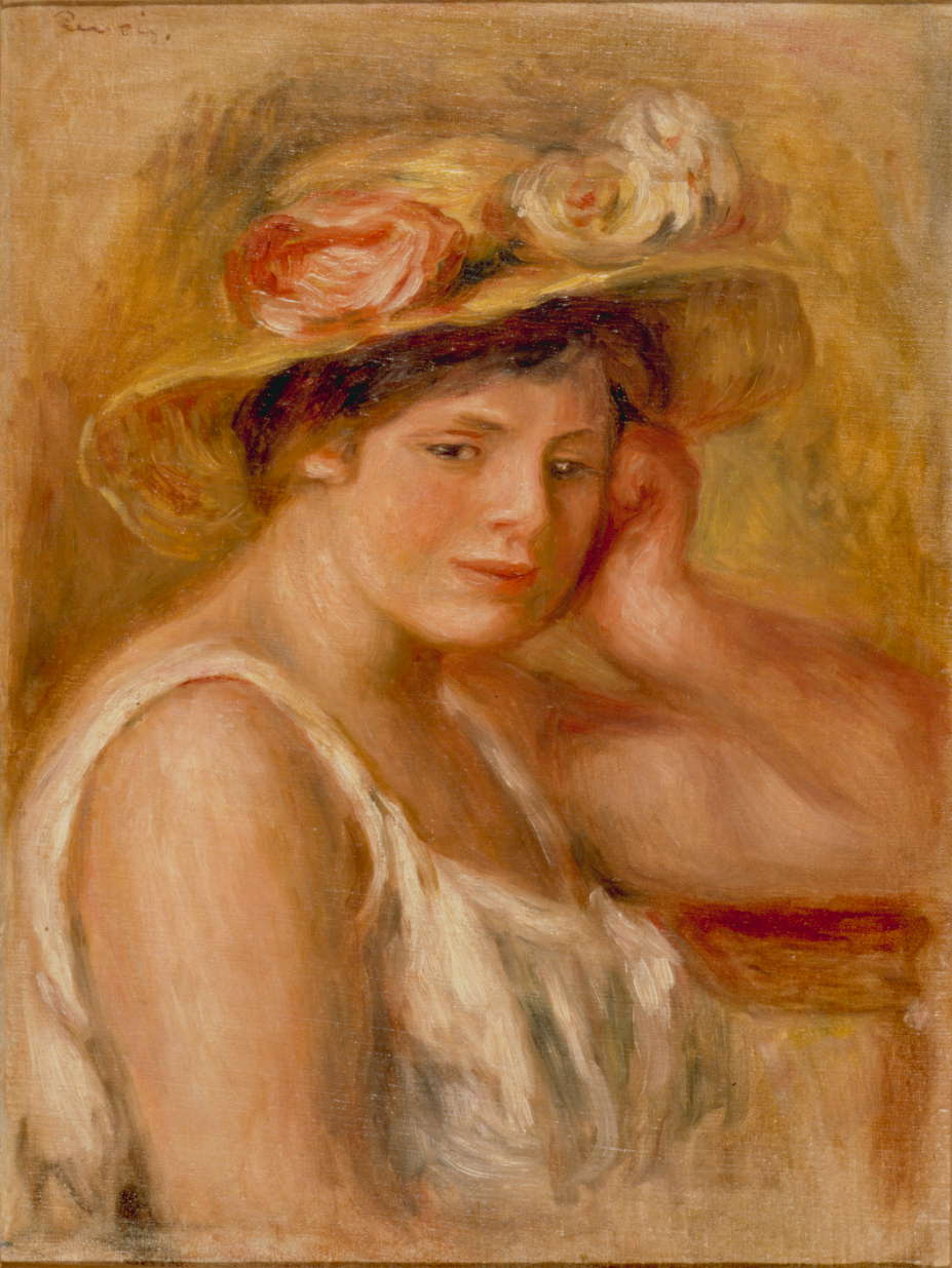 """Pierre Renoir """"Young Woman with a Hat"""" (1910). Permanent collection of the Sompo Japan Nipponkoa Museum of Art"""