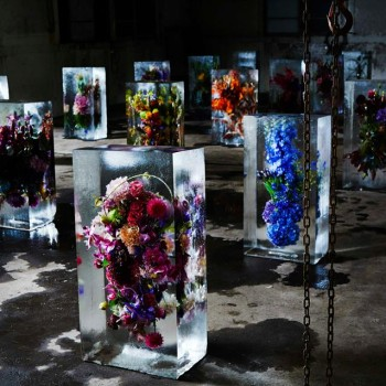 Flower Bouquets Frozen in Blocks of Ice by Makoto Azuma