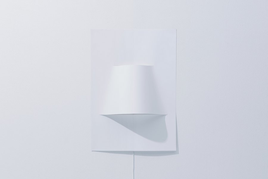 A minimal wall lamp made from a single sheet of paper for Minimalist wall