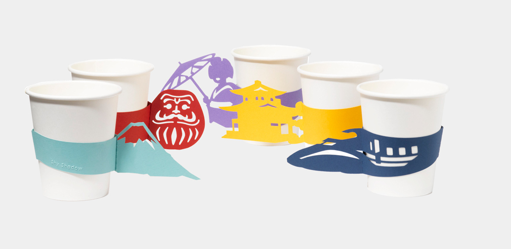 japan themed paper cup sleeves by akira yoshimura spoon tamago