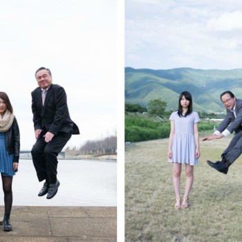Photos of Japanese Businessmen Jumping Next to Their Daughters by Yuki Aoyama