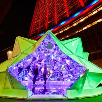 Light Origami: Masakazu Shirane's Immersive 3D Kaleidoscope Made From 320 Origami Shapes