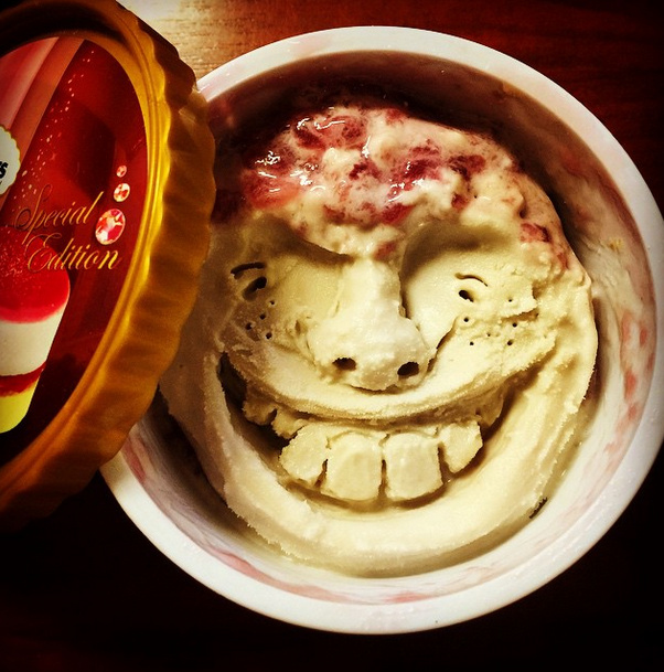 Makoto asano carves smiley faces into häagen dazs ice