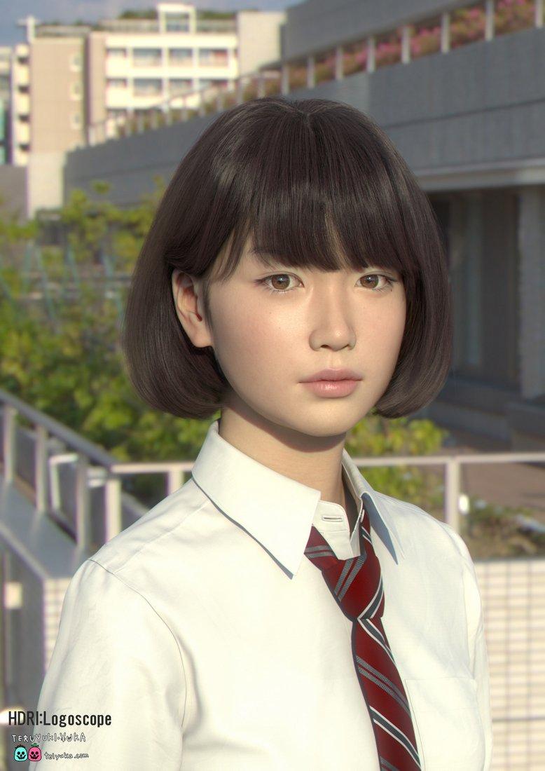 Teruyuki and Yuka 3d CG Japanese schoolgirl
