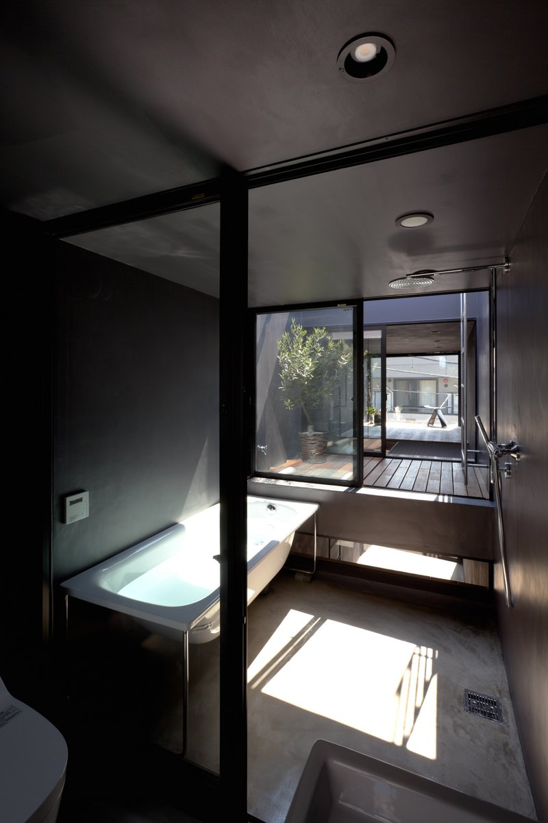 The fourth floor features a bathing room, bedroom, and terrace
