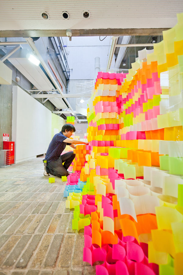 an architectural installation of 30 000 post it notes by yo shimada