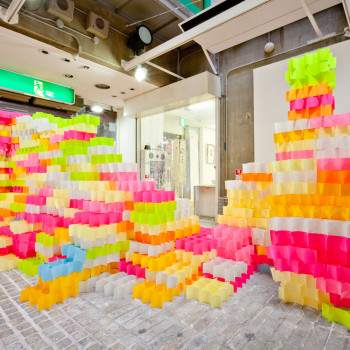 An Architectural Installation of 30,000 Post-It Notes by Yo Shimada