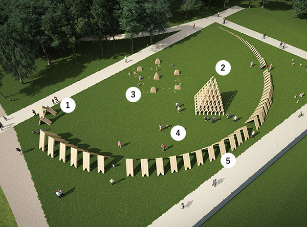This map details the five different structures at the installation site including playground full of building blocks for children, a pyramid, and a hallway of receding blocks.