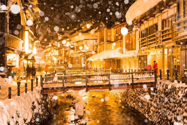 ginzan onsen snow 1