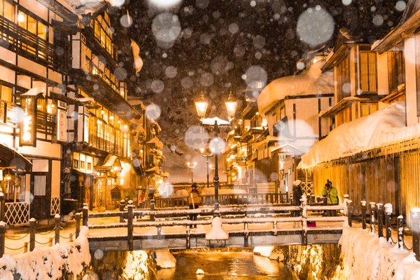 ginzan onsen snow 3