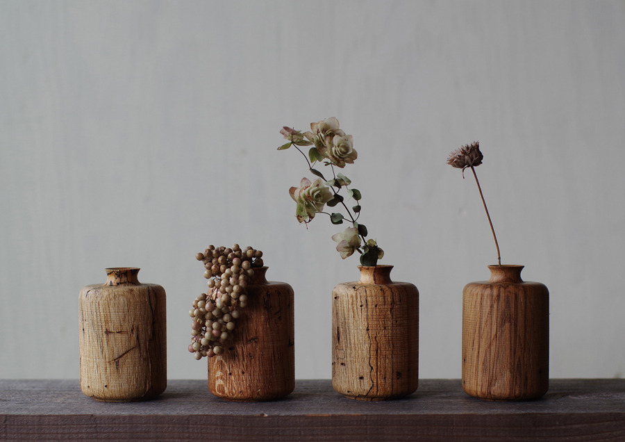 flower vases made from repurposed wormy wood spoon tamago. Black Bedroom Furniture Sets. Home Design Ideas