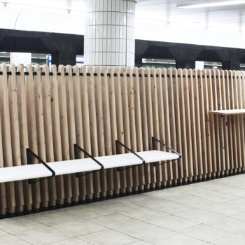 Wooden Work Stations and Benches Added to Subway Stations Along the Tokyo Metro