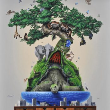 Surreal Acrylic Paintings by Takumi Kama Imagine Animals as Bonsai