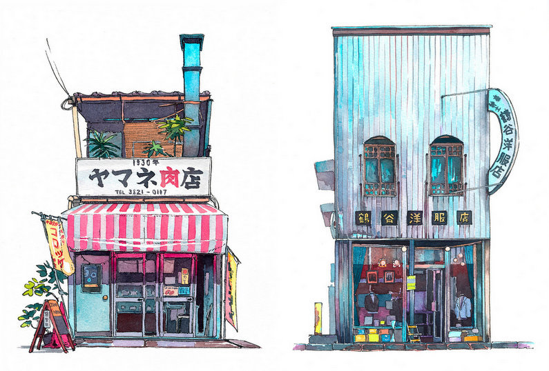 Illustrated Tokyo Storefronts by Mateusz Urbanowicz