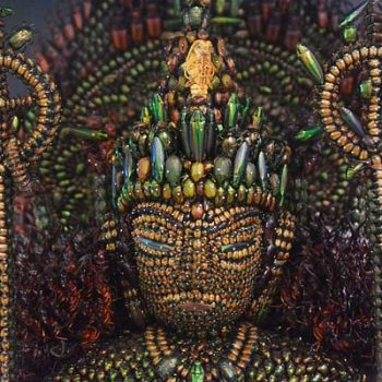 A Sculpture of a Buddhist Deity Made From 20,000 Beetles