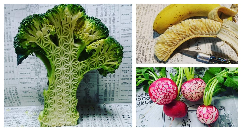 Intricate fruit vegetable carvings by japanese artist gaku