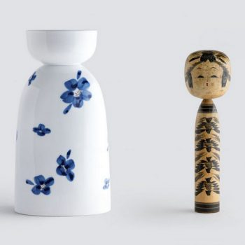 Porcelain Cup & Bottle Sets Inspired by Kokeshi Dolls