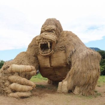 Rice Straw Animal Sculptures from the 2017 Wara Art Festival