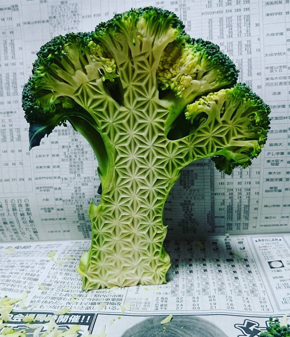 Intricate fruit vegetable carvings by japanese artist gaku