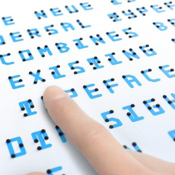 Braille Nueu Typeface Communicates Visually and Physically in English and Japanese