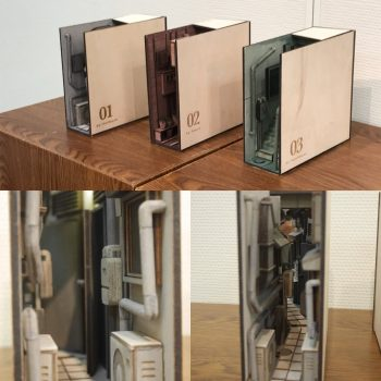 Magical Bookends Transform Bookshelves into the Back Alleys of Japan
