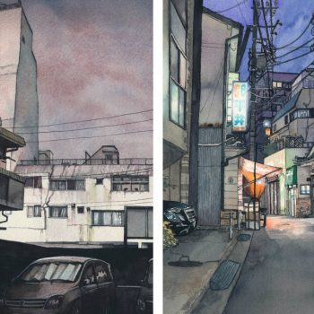 Watercolor Illustrations Depicting Night Streets of Tokyo by Mateusz Urbanowicz