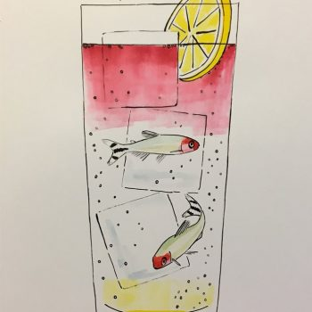 Playful Drawings of Cocktails with Fish by Kanta Yokoyama