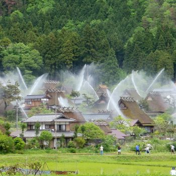 Fire Sprinklers in Kayabuki-no-Sato, Kyoto are Camouflaged as Huts