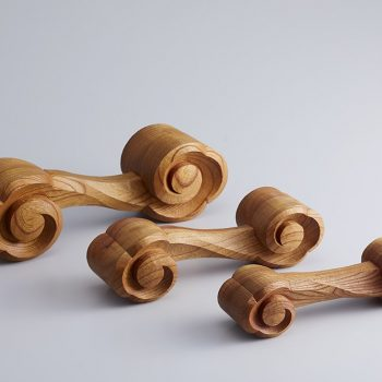 Japanese Hand-Carved Wooden Dumbbells