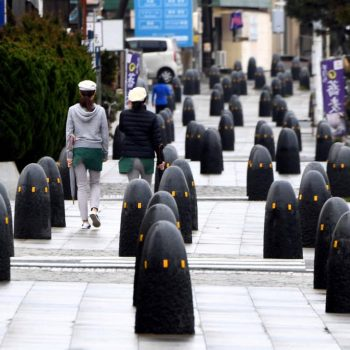 Hundreds of Bollards Line Side Street, Creating Surreal Scene in Shonan