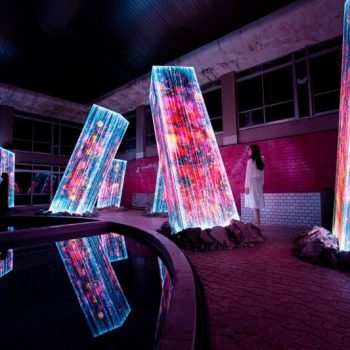 Digitally Activated Megaliths Rise Inside an Abandoned Bath House in TeamLab's Latest Installation