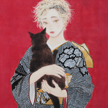 Women and Cats: Contemporary Bijinga Paintings by Kazuho Imaoka