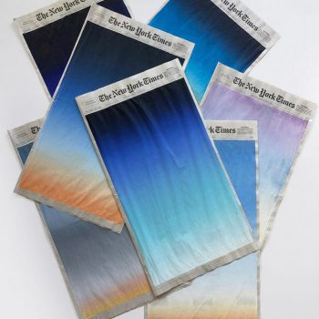 Small Windows of Sunrises Painted onto the Covers of the New York Times by Sho Shibuya