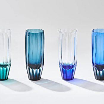 Sculptural Satsuma Kiriko  Glasses Designed by Shizuka Tatsuno