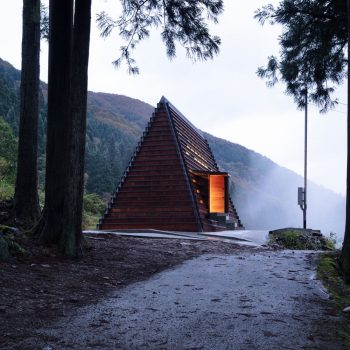 A Wooden Cabin Constructed Locally in the Mountains of Japan Using a 3D Wood Cutter