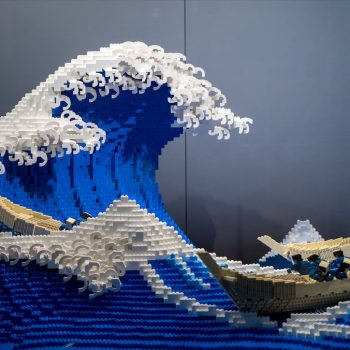 Hokusai's Great Wave, Sculpted in Lego Blocks by Jumpei Mitsui