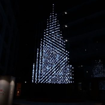 1000 Handmade Mizuhiki Cord Balls Embedded with LED Lights Forms this Christmas Tree in Tokyo