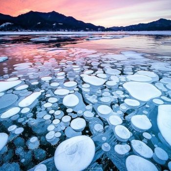 Magical Ice Bubbles Appear on the Surface of Lake Nukabira in Hokkaido