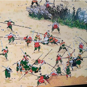 Byobu Folding Screen Depicting the Battle of Sekigahara Comes to Life Through Pixel-Animation by Yusuke Shigeta