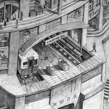 Dense Pencil Drawings of Retro-Future Worlds by Yota Tsukino